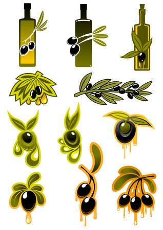 entwined: Olives and olive oil icons with varying numbers of black olives entwined around the bottles, hanging on branches and with drops of oil