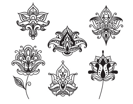 Decorative persian and indian paisley flowers in outline style isolated on white for ornate and embellishment design