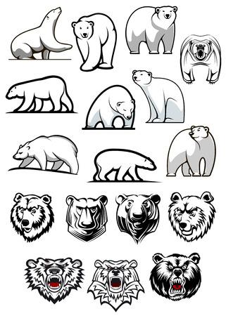 oso blanco: Personajes de dibujos animados oso polar blanco que muestra diversas posiciones de cuerpo completo y cabezas para el diseño de tatuaje o equipo deportivo mascotas