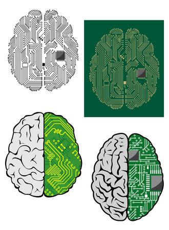 Human brain with computer motherboard, processor and other components for technology design Vector