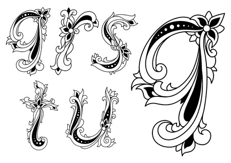 u s: Floral black and white Q, R, S, T and U alphabet letters set for medieval design