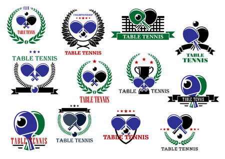 Table tennis sporting icons and labels set with rackets, balls and net Illustration