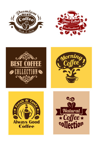 best coffee: Creative best coffee logos and banners with cup and coffee beans for cafe and restaurant design