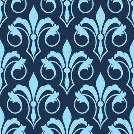 壁紙、包装紙やテキスタイル デザインの正方形フォーマットの青の色合いでリピートをモチーフにしたシームレスな Fleur de Lys パターンをスクロー  イラスト・ベクター素材