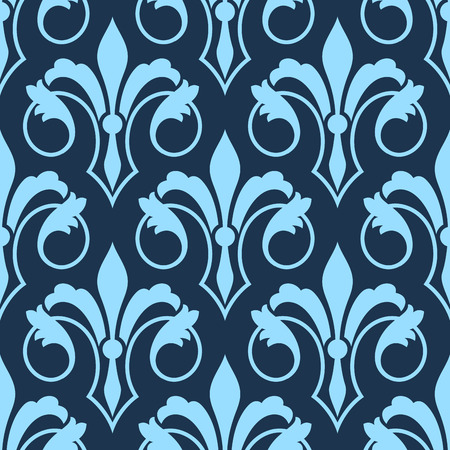 Stylized scrolling seamless Fleur de Lys pattern with a repeat motif in shades of blue in square format for wallpaper, wrapping paper or textile design