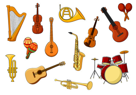 drum set: Cartoon set of colored musical instrument icons with a harp, guitar, violin, drums, trumpet, sax, rattles, trombone and French horn