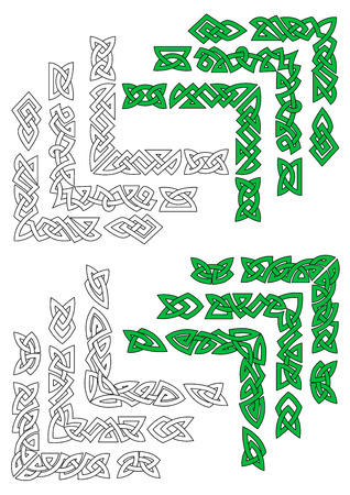 celt: Green and outline celtic frame borders for design and ornate Illustration