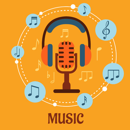 Music, sound and entertainment concept with microphone and earphones surrounded by circular icons with music notes and the text Music Vector