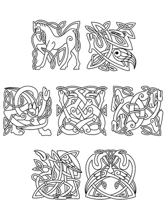 line drawings: Square decorative celtic  motifs of ornate intertwined animals and birds in black and white line drawings Illustration
