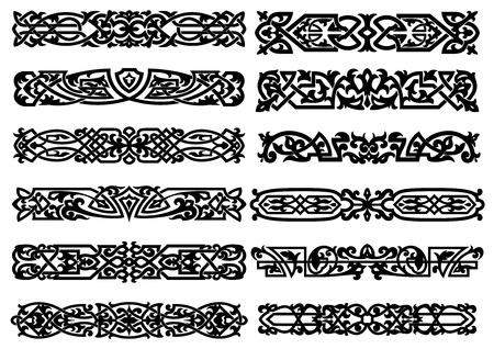 Vintage style ornate calligraphicblack and white ornaments or borders with intricate designs