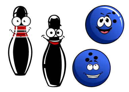 Happy smiling cartoon bowling pins or skittles and balls characters isolated on white background