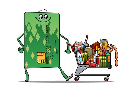 Happy smiling green credit card doing the grocery shopping with a trolley full of food and products, shopping on credit