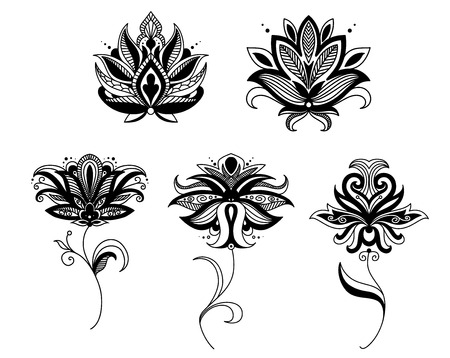 Indian and persian paisley flowers ser for retro and ornate design Illustration