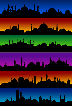 middle eastern: Oriental arabian city skylines with mosques and minarets for holiday and religion design