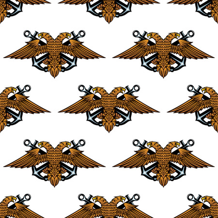 venerate: Eagle with crossed anchors seamless pattern for heraldic and royal design