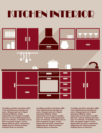 maroon: Kitchen interior infographic template in shades of maroon with a fitted kitchen with electrical appliances, cabinets and kitchenware and editable text space