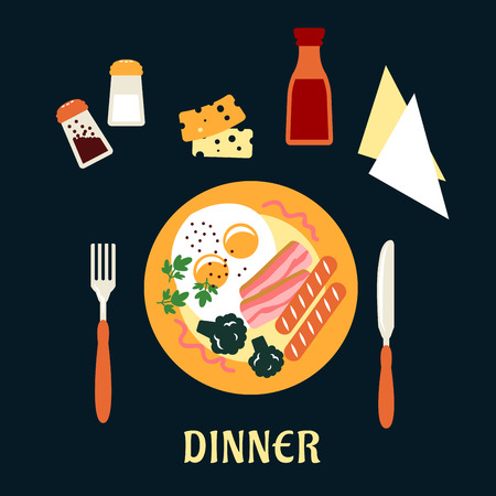eggs and bacon: Overhead view of a tasty cooked dinner on a plate with eggs, bacon, sausage and broccoli with cutlery, condiments, sauces and napkins