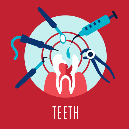 targeted: Teeth and dentistry concept with a cartoon tooth being targeted by dental tools, drill, mirror, an injection and pliers on pink with text