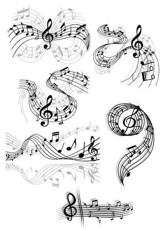 scores: Black and white drawings of swirling musical scores and notes with clefs and overlay over grey designs for decorative design elements