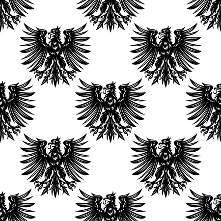 紋章やロイヤル デザインの黒い鳥と紋章ワシのシームレスなパターン背景