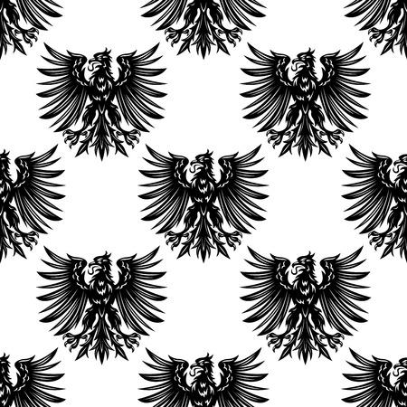 Aquile araldiche senza soluzione di continuità di fondo del modello con gli uccelli neri di araldica o royal design Archivio Fotografico - 37827572