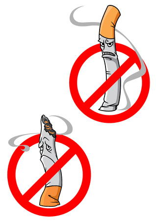 abstain: No Smoking Allowed warning signs with cartoon angry or dejected cigarettes crossed through in red circles