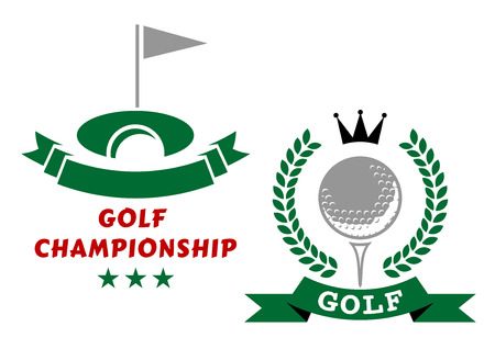 enclosing: Golfing championship emblems or badges in green and grey with a banner and flag at the hole and circular wreath enclosing a golf ball and crown with banner below and text Illustration