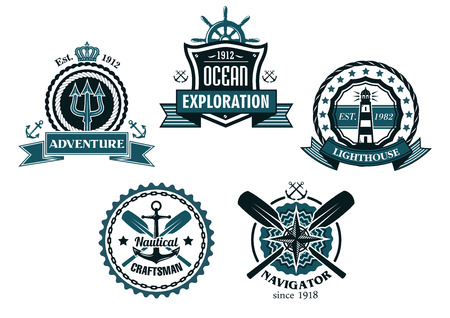 Nautical and marine emblems or icons with anchors, helms, lighthousesoars, trident and round ropes