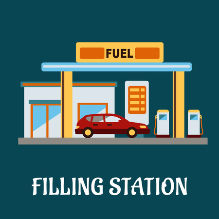 filling station: Family car refueling with gasoline at a filling station, flat style