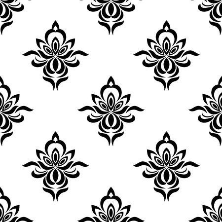 silhouetted: Retro floral seamless pattern with elegance black silhouetted flowers