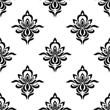 eleg�ncia: Teste padr�o sem emenda floral com eleg�ncia preto flores silhuetas Ilustra��o