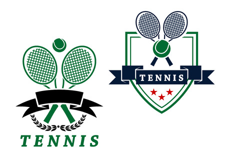 backhand: Heraldic tennis emblems or badges with crossed rackets and ball with a blank banner and shield with text Tennis below