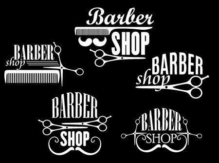 tijeras: Barbería o salón de emblemas y logotipos de la vendimia incluyendo tijeras se abren y cierran, peines y bigotes retro rizado con encabezados Barber Shop en fondo negro