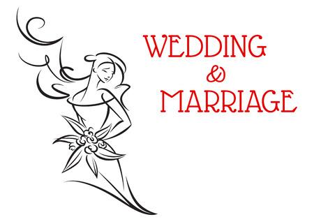 텍스트 결혼식 및 결혼에 격리 된 흰색 배경으로 웨딩 드레스를 들고 꽃다발 행복 한 신부의 실루엣 결혼 배경
