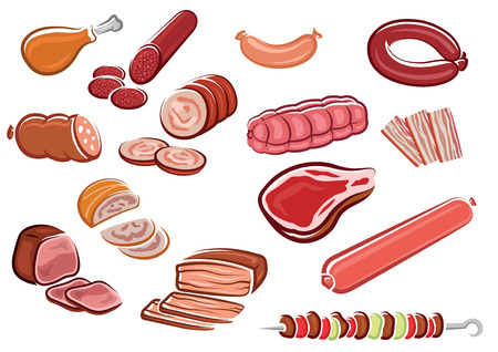 Meat products in cartoon style including  bacon strips, sliced sausages and roast beef, fresh steak, chicken leg, kebab with vegetables on skewer suited for steak house or butcher shop design