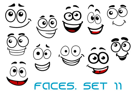 Cartoon emotional funny faces characters with cheerful, joyful and happy expressions suited for comic or childish decor design Ilustração