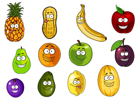 yellow character: Cute apple, banana, orange, plum, peanut, avocado, pineapple, lemon, melon, pear cartoon characters isolated on white background