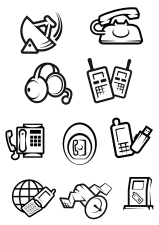 Telephone technology icons with silhouettes of smartphones, dial and mobile phones, fax, headset, radio set, satellite and radar isolated on white background Vector
