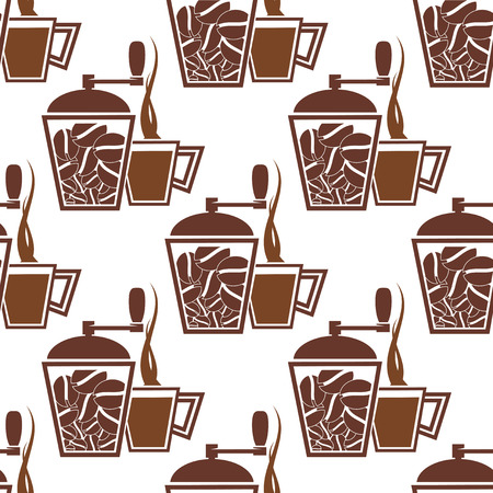 mills: Coffee seamless pattern with vintage manual coffee mills and cups filled brown hot drink on white background for cafe or coffee shop design