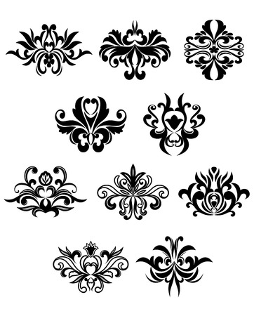 Flourish design elements in damask style showing black curly abstract flowers isolated on white background suitable for wallpaper or invitation design