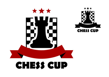 chess board: Chess cup icon or emblem template including black rook on chess board decorated red stars and ribbon banner with copy space and second variant in black color Illustration