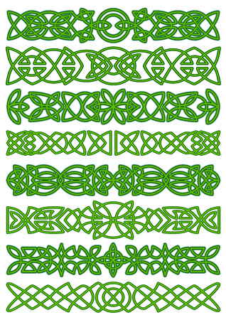 Celtic borders with floral traditional green tracery ornament for tattoo or ethnic decor design Vettoriali