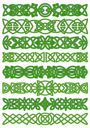 Fronteras célticos con floral tradicional ornamento tracería verde para el tatuaje o decoración diseño étnico Foto de archivo - 38118573