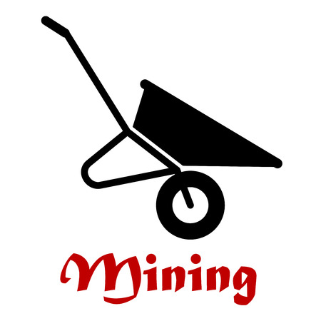 iron ore: Mining flat concept with black silhouette of empty wheelbarrow isolated on white background suited for heavy industry or work tool design Illustration