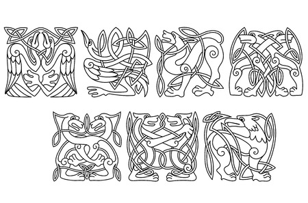 celt: Abstract celtic patterns with dogs, wolves, herons, stork and griffon in outline style for tattoo or totem design Illustration