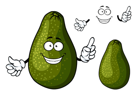 mellow: Fresh ripe dark green avocado fruit cartoon character with toothy smile and googly eyes suited for salad, sandwich or guacamole recipe design