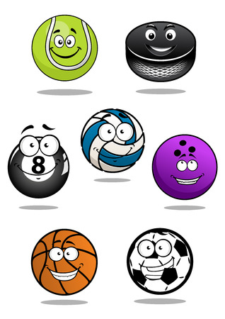 Cute balls and puck cartoon characters including equipments for football or soccer, ice hockey, volleyball, basketball, bowling, tennis, billiards