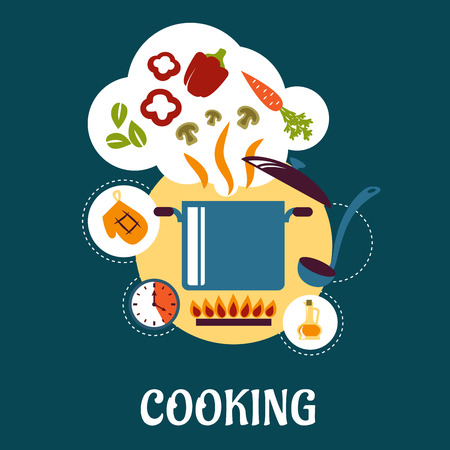 mushroom soup: Cooking flat infographic depicting vegetable soup preparation with pan on fire, ladle, olive oil, timer, potholder and vegetable ingredients as carrot, mushroom slices, bell pepper, herbs