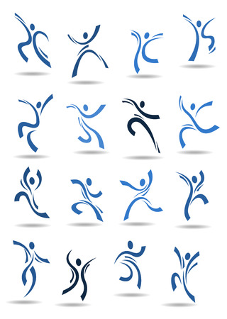 contemporary dance: Abstract dance icons with blue silhouettes of dancing people in different poses suitable for logo or emblem template design Illustration