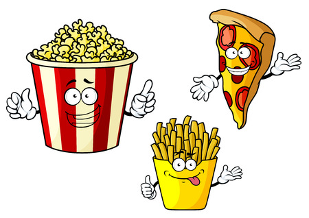 Funny fastfood cartoon characters depicting smiling pizza slice, french fries in yellow paper box and popcorn in red striped bucket for food design